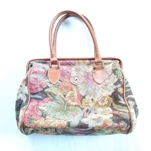 VINTAGE tapestry canvas floral hobo handbag